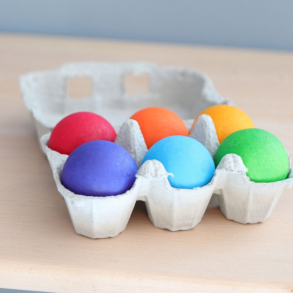 Six Rainbow Wooden Balls