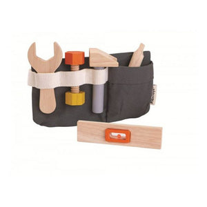 on a white background, a dark grey canvas tool belt with wooden tools inside. A wooden level in the foreground
