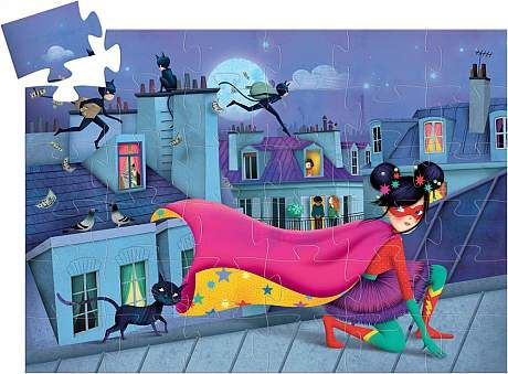 on a white background, an assembled puzzle with one piece yet to be placed in the corner featuring a colourful rooftop scene