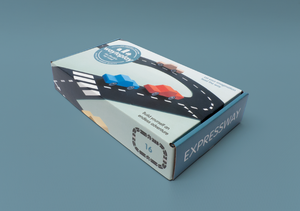 on a blue background that matches a blue box of the featured expressway set. Box shows roadway and cars on it.