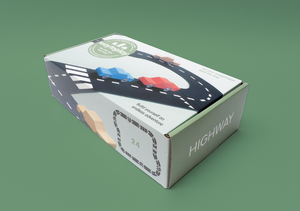 on a green background that matches the green box of the highway set. Box shows roadway and cars on it.