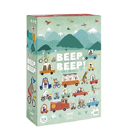A green puzzle box with illustrated cars and vehicles on it. on a white background