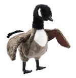 a plush canada goose on a white background