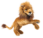 large plush realistic lion on a white background