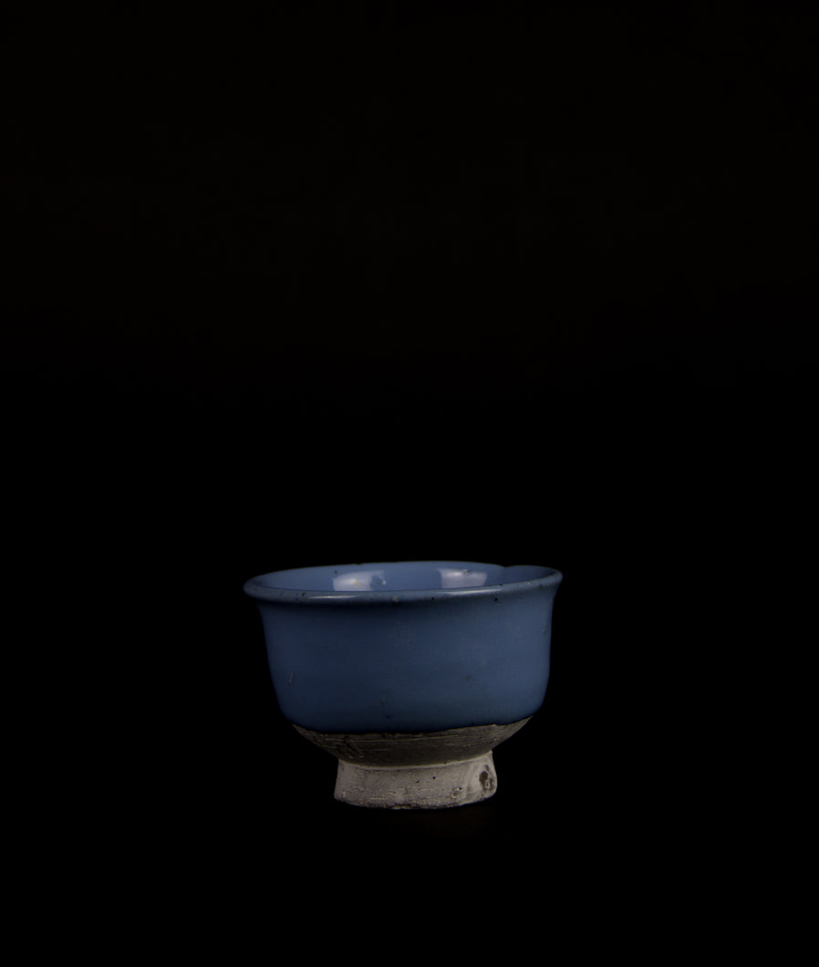 Guinomi with Blue glaze by Matthias Kaiser