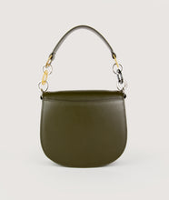 Load image into Gallery viewer, Sagan Vienna, elegant hand bag, crossbody bag, shoulder bag, bibliothéque, olive green, Italian smooth calf leather, cow horn, mosaic