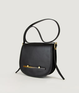 Sagan Vienna, crossbody bag, handbag, bibliothéque, black, smooth calf leather, horn, Hornmanufaktur Petz