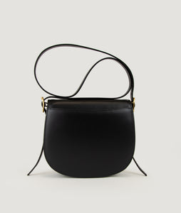 Sagan Vienna, unique handbag, bibliothéque, black, Italian smooth calf leather, cow horn
