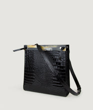 Load image into Gallery viewer, Gwyneth handbag, black, Size M, made from croco embossed Italian smooth calf leather. The mosaic front plate is made from cow horn. Shoulder strap is adjustable and in the function of easy closing and opening the bag. Unique and Elegant.