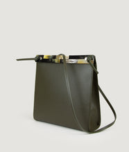Load image into Gallery viewer, Gwyneth bag, Size M, olive green, made from Italian calf leather. The front mosaic plate is made from cow horn. Adjustable shoulder strap. Shoulder strap is also in the function of easy closing and opening the bag. Elegant and contemporary.