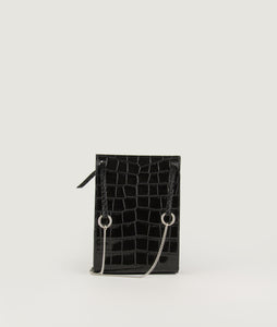 Gwyneth S Black Croco Effect with Horn