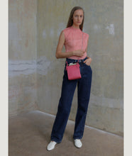 Load image into Gallery viewer, Gwyneth small bag, size S, in fuchsia, made from Italian calf leather. This size is suitable for all iPhone sizes. The mosaic front plate is made from cow horn. Fine chain shoulder strap. Elegant and contemporary.