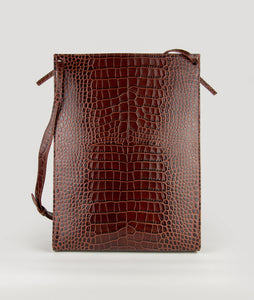 Gwyneth L Burgundy croco effect with Horn