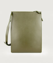 Load image into Gallery viewer, Backside of Gwyneth handbag, size L, in olive green. It's made from Italian calf leather. This size is suitable for A4 formats and all iPad sizes. The mosaic front plate is made from the cow horn. Adjustable shoulder strap. Shoulder strap is also in the function of easy closing and opening the bag.