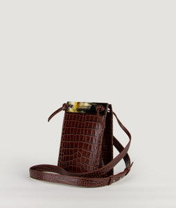 Gwyneth S Burgundy croco effect with Horn