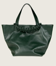 Load image into Gallery viewer, SAGAN Vienna - XL Tote bag, vegetable tanned leather, green, hand braided signature leather handle, functioning as fastening detail. Inner zip pocket.