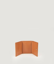 Load image into Gallery viewer, The Triptych mini wallet in Nude is made from Italian smooth calf leather. This compact format is perfect to fit cards, as well as bills and coins. Familiar done differently.