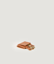 Load image into Gallery viewer, The Triptych mini wallet in a warm camel tone is made from Italian smooth calf leather. This compact format is perfect to fit cards, as well as bills and coins. Familiar done differently.