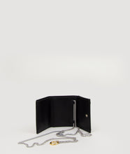 Load image into Gallery viewer, The Triptych mini wallet bag in black is made from Italian smooth calf leather. This compact format is perfect to fit cards, as well as bills and coins. Familiar done differently.
