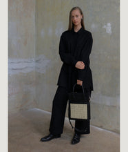 Load image into Gallery viewer, Vienna Shopper Tote bag in color black. Wiener Geflecht framed with Italian calf leather.  Long removable shoulder strap with signature hand knotted shoulder handle. Additionally short handle. Exquisite signature style.