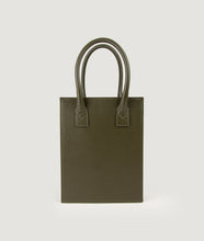 Load image into Gallery viewer, Vienna Shopper Tote bag, size S in color military olive green. Wiener Geflecht framed with Italian calf leather. Long removable shoulder strap with signature hand knotted shoulder handle. Exquisite signature style.