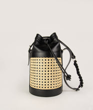 Load image into Gallery viewer, Vienna bucket bag, size M in black from Italian calf leather. Short signature hand knotted handle with additionally long thin removable shoulder strap. Inner pocket. D-key ring.