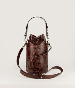 Bucket Bag S Burgundy croco effect with Horn