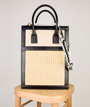 Load image into Gallery viewer, Vienna Shopper Tote bag in tricolor black, beige, white, silver. Wiener Geflecht framed with Italian calf leather. Magnet fastening on outside pocket, two magnet fastening for closing on the top. Long removable shoulder strap with signature hand knotted shoulder handle. Additionally short handle.
