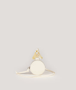 Coin necklace wallet round cream white
