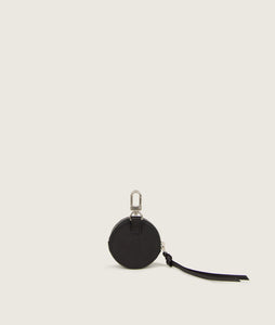 SAGAN Vienna - round coin holder, black, attachable on bags, made from vegetable tanned spanish goat leather.