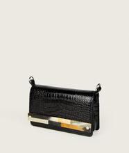 Load image into Gallery viewer, Crossbody M black croco with mosaic horn