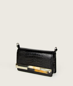 Crossbody M black croco with mosaic horn