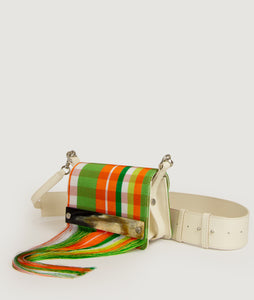 Collaboration, Kenneth Ize, Sagan Vienna, orange - white handbag, handwoven, horn detail, craftmanship