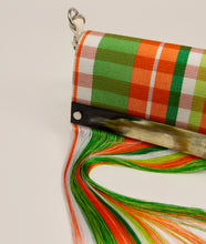 Load image into Gallery viewer, Collaboration, Kenneth Ize, orange, white, handbag, handwoven, horn detail