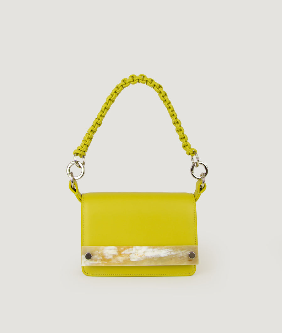 Crossbody S yellow green with horn