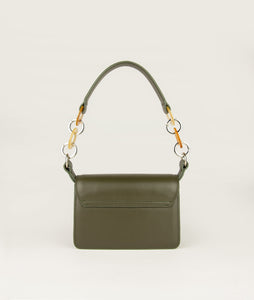 Crossbody bag olive green, size S, with mosaic horn, size S, is made from Italian smooth calf leather. It comes with an extra adjustable strap.