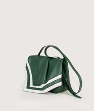 Load image into Gallery viewer, Scarf Crossbody bag in size M, green.white, made from smooth spanish lamb leather. Inspired by a draped scarf this style is very soft. This bag is perfect for carrying your most treasured goods.