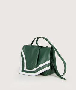 Scarf Crossbody bag in size M, green.white, made from smooth spanish lamb leather. Inspired by a draped scarf this style is very soft. This bag is perfect for carrying your most treasured goods.