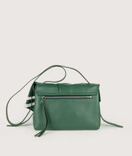 Load image into Gallery viewer, Scarf Crossbody bag in size M, green-white, made from smooth spanish lamb leather. Inspired by a draped scarf this style is very soft. This bag is perfect for carrying your most treasured goods.