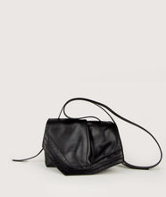 Load image into Gallery viewer, SAGAN Vienna - Scarf Crossbody bag, size S, made from spanish lamb leather with natural grain, in black. It comes with two sides buckle and an adjustable long shoulder strap. Small inner pocket and outside pocket on the back. Smooth lamb leather lining.
