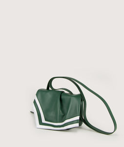 Scarf Crossbody bag in size S, green-white, made from smooth spanish lamb leather. Inspired by a draped scarf this style is very soft. This bag is perfect for carrying your most treasured goods.