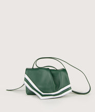 Load image into Gallery viewer, Scarf Crossbody bag in size S, green-white, made from smooth spanish lamb leather. Inspired by a draped scarf this style is very soft. This bag is perfect for carrying your most treasured goods.
