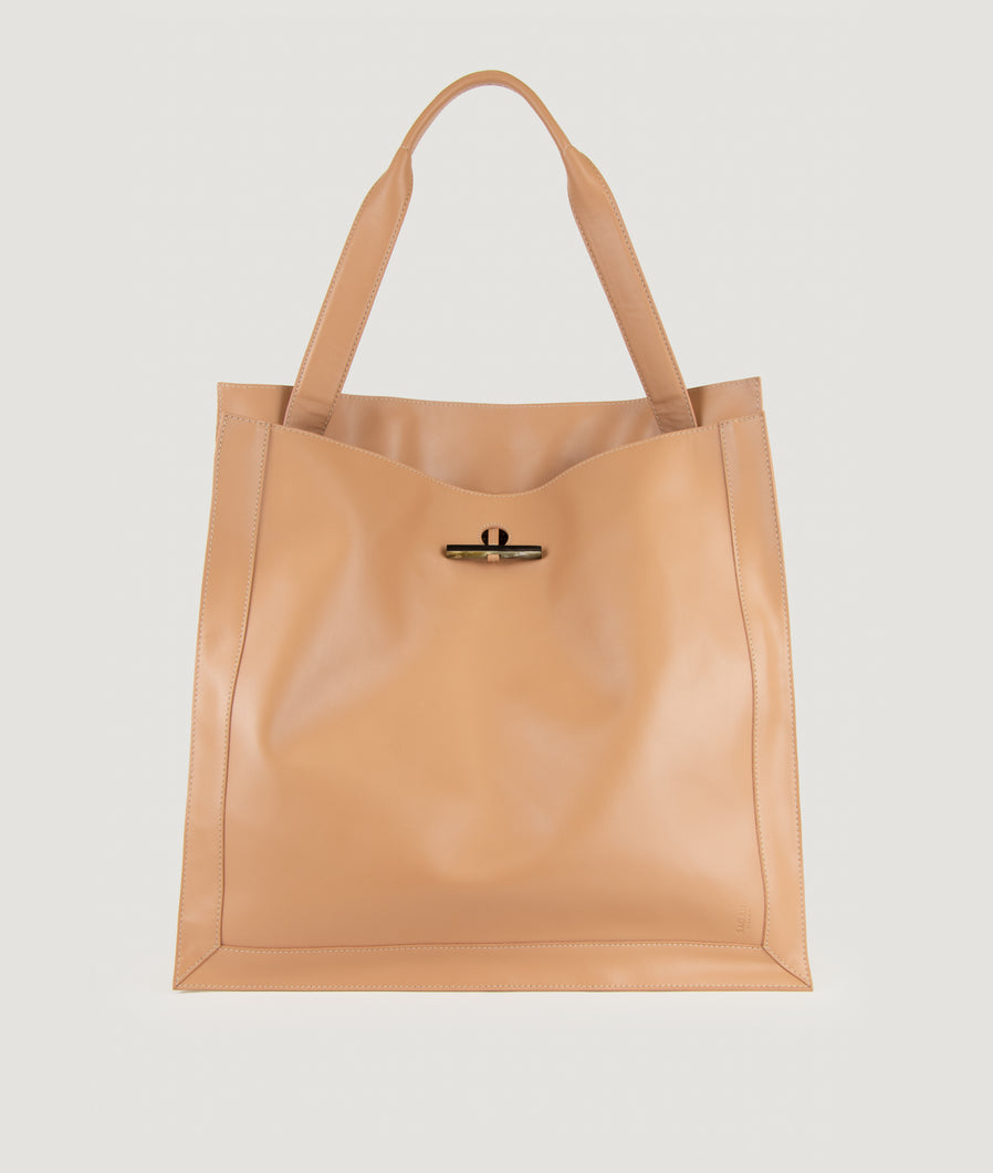 Scarf shopper bag L nude