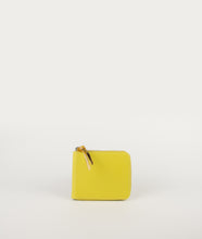 Load image into Gallery viewer, Wallet Square purse in fresh yellow, made from smooth Italian calf leather. It´s generously proportioned to fit all cards, bills and coins. One side zip fastening along the top and sides with accentuated signature puller made from cow horn.