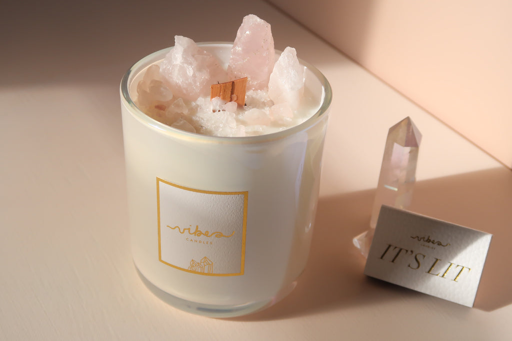 Aura Crystal Candle 14oz. - Rose Quartz