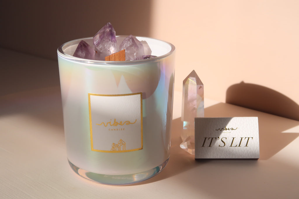 Aura Crystal Candle 14oz. - Amethyst Quartz