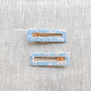 Duo Barrettes Résine Rectangle Crémieux