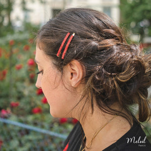 Duo Barrettes Strass Rouge