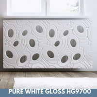 SALE Sophisticated Removable Radiator Heater Cover with bold GALAXY Design in GLOSS White-Radiator Covers > Panel Radiator Covers > Modern Radiator Covers > Designer Radiator Cover > Custom Made Radiator Covers > Heater Grill Covers > Clip on Panel Covers > Made to Measure Radiator Cover-RadiatorCoversShop.com