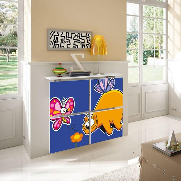 Children's Radiator Cabinet Cover CARTOON Dino & Butterfly design for Kids Bedroom Nursery Playroom-Radiator Covers > Floating Radiator box & Shelf > Children Design Heater Cabinets > Radiator Casing for Kids Safety > Nursery Radiator Casing > Playroom Radiator> Made toMeasure > Custom Designs Cover-RadiatorCoversShop.com